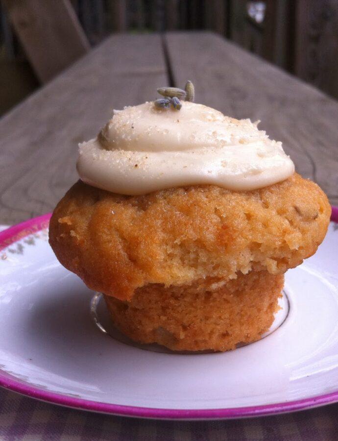 Einkorn Honey Lavender Cupcakes